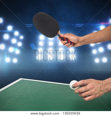 Composite image of female athlete playing table tennis against spotlight