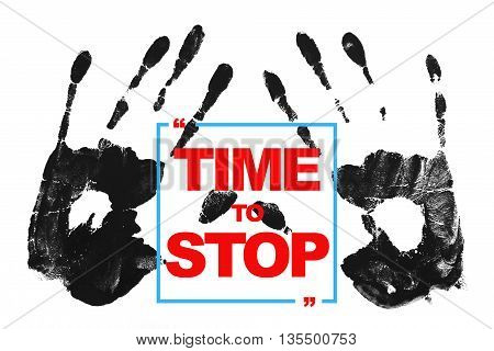 time to stop word with hands on white background