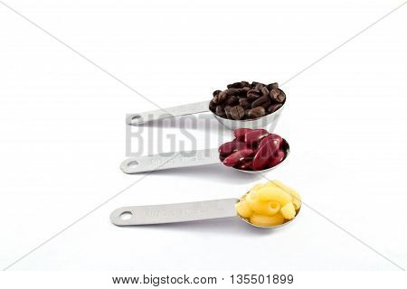 Coffee rad beans and macaroni measure spoon