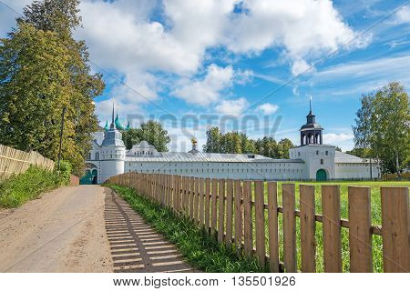 landscape with beautiful orthodox monastery in Yaroslavl region Russian golden ring