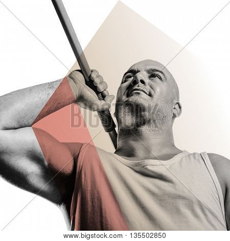 Athlete preparing to throw javelin against different colors