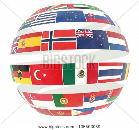 3D illustration of National flags twisted as spiral globe - isolated on white