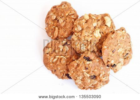 Cereal cookies on a white background, wholewheat cookies