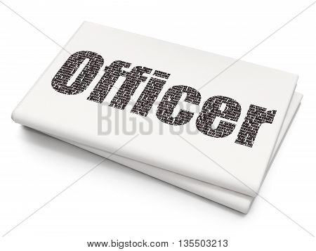 Law concept: Pixelated black text Officer on Blank Newspaper background, 3D rendering