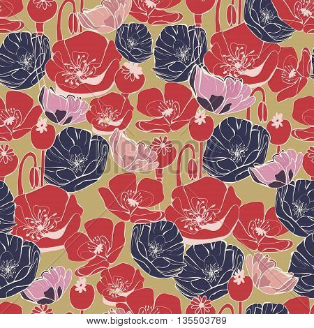 Vector beautiful poppy flowers pattern background vintage style botanical elements