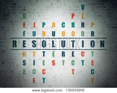 Law concept: Painted blue word Resolution in solving Crossword Puzzle on Digital Data Paper background