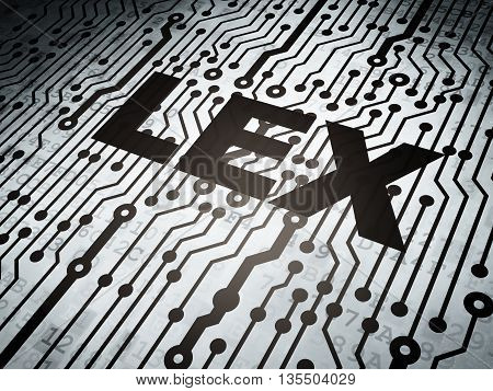 Law concept: circuit board with  word Lex, 3D rendering