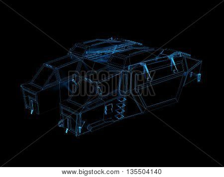 3d render of technological blueprint of space ship or drop ship
