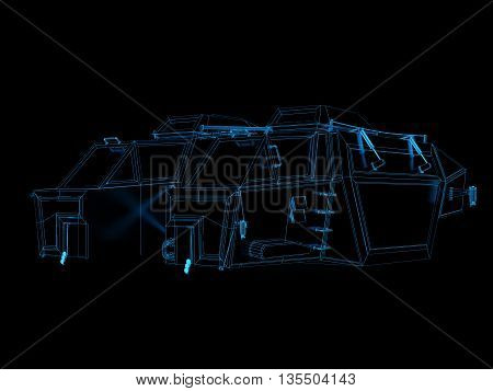 3d render of generic space ship blue print for science fiction