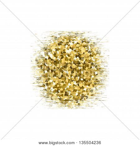 Gold glitter circle texture isolated on background. Vector illustration for golden shimmer texture. EPS