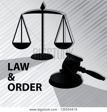 Law and order -Grayscale,clipart with gavel and weigh scale