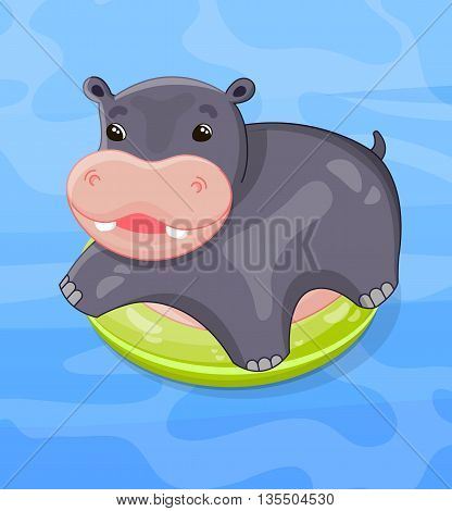 Cute hippo swims in the pool or sea an bright swim ring vector illustration