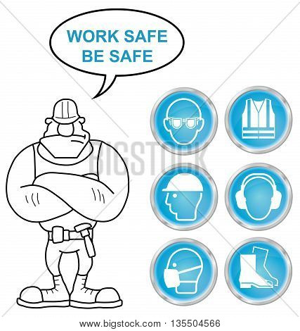 Mandatory construction manufacturing and engineering health and safety shiny cyan icons to current British Standards with work safe be safe message isolated on white background