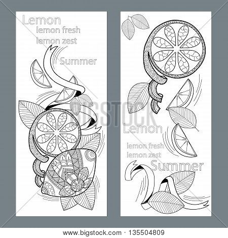 Lemon and lemon slices pattern on a white background in the style of zentangle