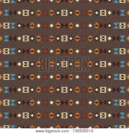 Geometric ethnic seamless pattern. Abstract brown aztec background for your design