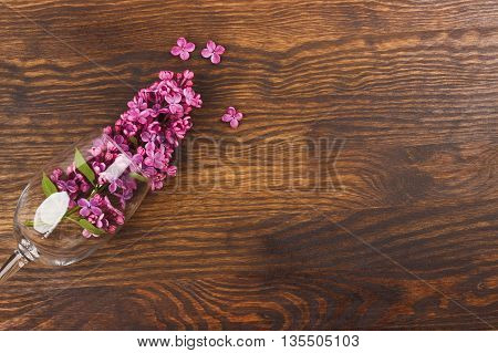 Wineglass With Violet Lilacs