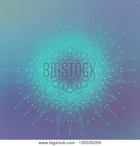 Geometric abstract background with connected line and dots. Molecule and communication background. Molecular structure dna and neuron composition. Vector illustration.