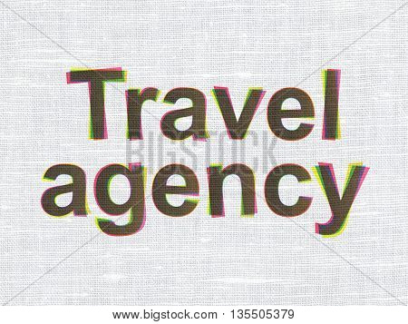 Travel concept: CMYK Travel Agency on linen fabric texture background