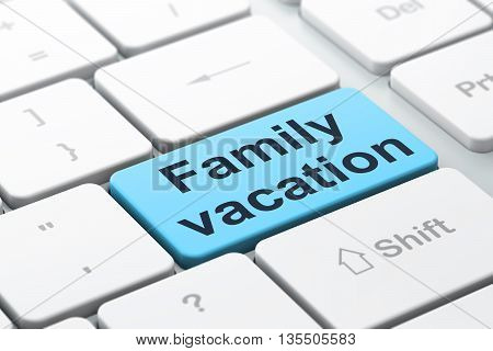 Tourism concept: computer keyboard with word Family Vacation, selected focus on enter button background, 3D rendering