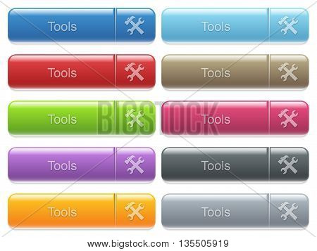 Set of tools glossy color captioned menu buttons with embossed icons