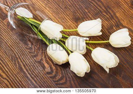 Wineglass With White Tulips