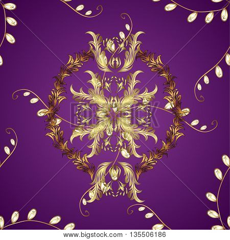 texture on lilac gradient background with golden pattern