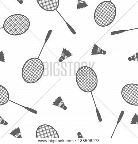 Sports Seamless background with elements of equipment for badminton racquet and shuttlecock vector illustration.
