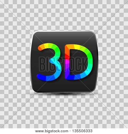 Sign of a three-dimensional video isolated on a gray background rainbow letters vector illustration.