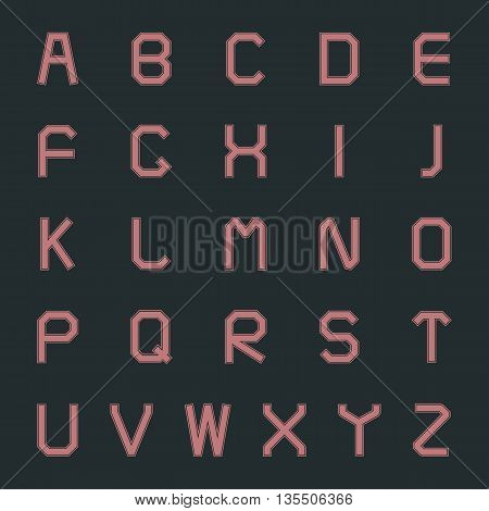 Set of letters of the Latin alphabet in retro style vector illustration.