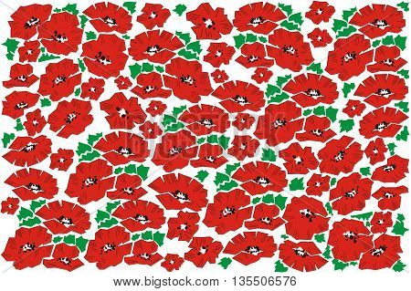 Background with poppies. Greeting card with poppies. Invitation. Wedding Card.