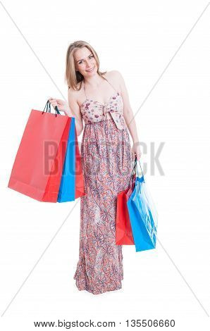 Lovely Woman Relaxing And Doing Shopping In Her Leisure