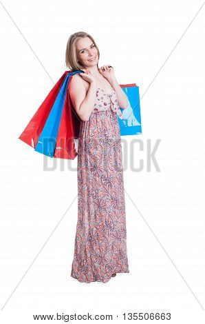 Beautiful Smiling Female Wearing Long Dress And Carrying Shopping Bags