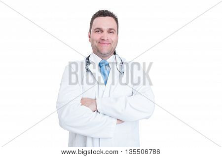 Male Doctor Standing Arms Crossed Acting Confident Or Successful