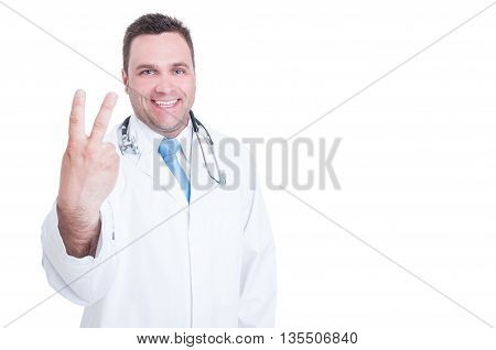 Young Doctor Smiling And Showing Number Two With One Hand