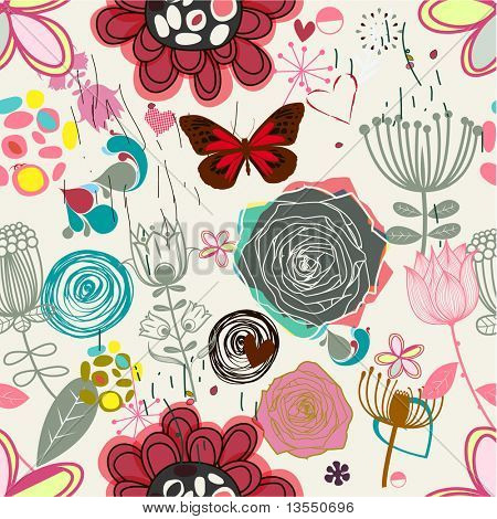 Floral seamless pattern in retro style