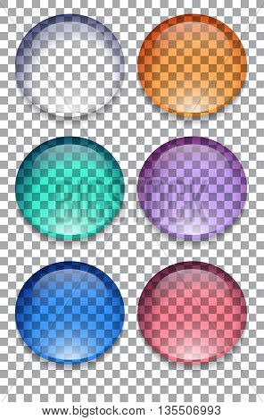 Set of colorful transparent buttons Vector element for your creativity