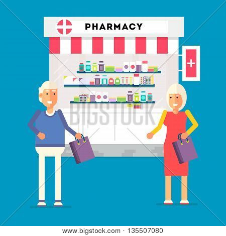 Cool vector pension sales concept illustration with elderly couple standing. Senior age man and woman standing with pills purchase near the pharmacy on background. Retirement concept illustration