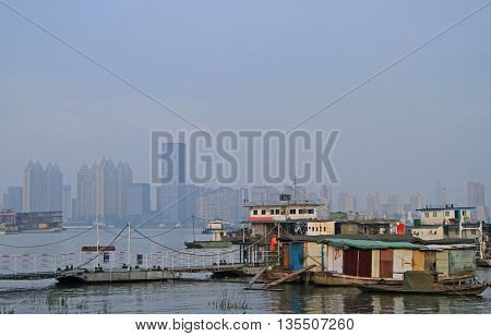 yangtze river and dock in Wuhan, China