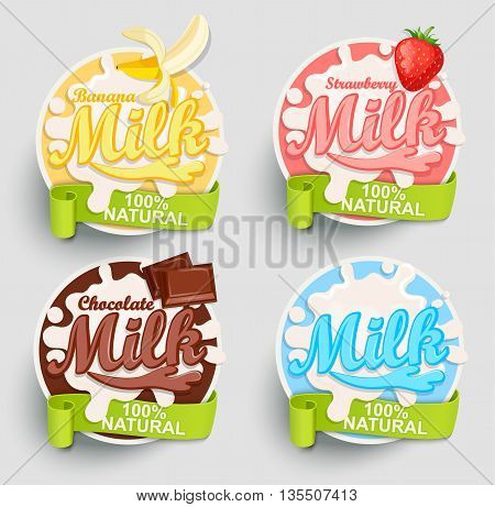 Chocolate, Banana, strawberry milk labels splash. Blot and lettering with ribbon on blue background. Splash and blot design, shape creative vector illustration.