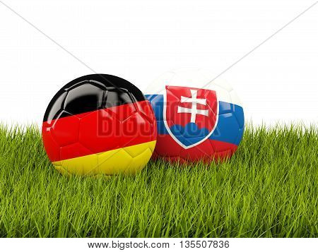 Germany And Slovakia Soccer Balls On Grass