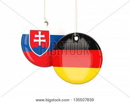 Germany And Slovakia Soccer Teams Round Labels