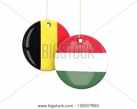 Hungary And Belgium Soccer Teams Round Labels