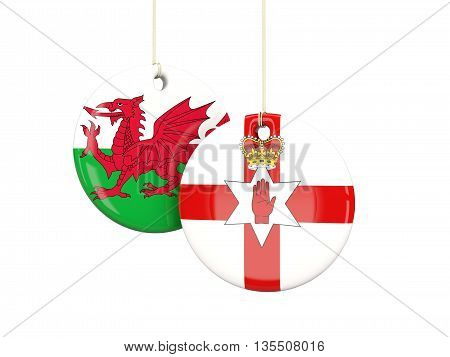 Northern Ireland And Wales Soccer Teams Round Labels
