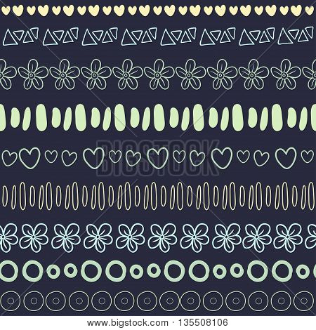 Textile seamless pattern on dark background. Fashion ethnic print or package design.