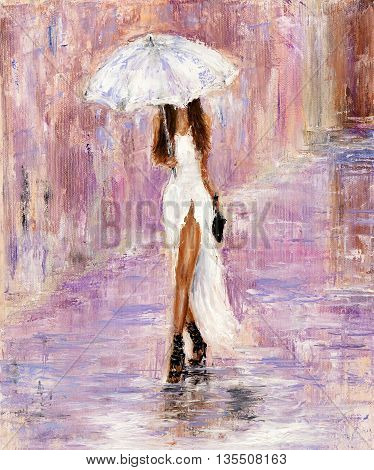 Original abstract oil painting showing beautiful young woman in white dress and umbrella walking on the street on canvas. Modern Impressionism modernismmarinism