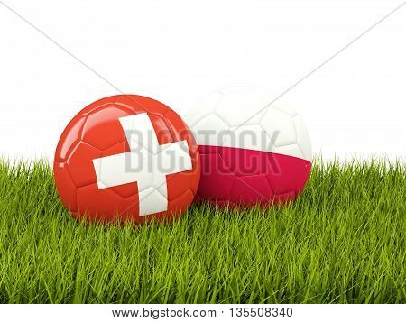 Switzerland And Poland Soccer Balls On Grass