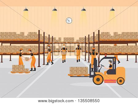 Workers working at warehouse interior load boxes and pallet on shelves Industrial warehouse with forklift delivery and bar code scannervector illustration