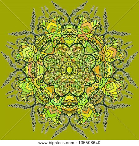Bright card with colored circular floral ornament. Round Pattern Mandala. Circular pattern with flowers. Floral round pattern for the greeting card or invitation