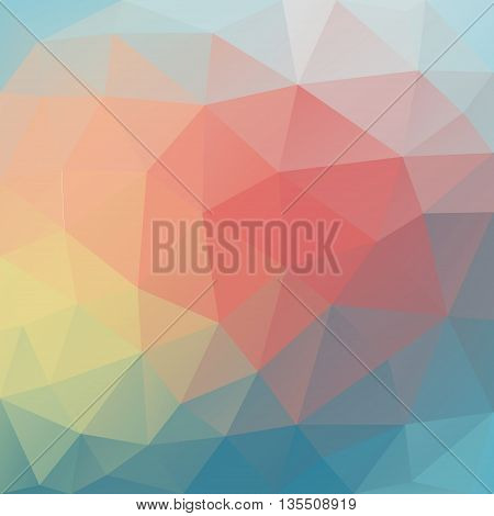 Vector background with geometric shapes with red blue turquoise and yellow colors. Triangle mosaic background. Polygonal design.