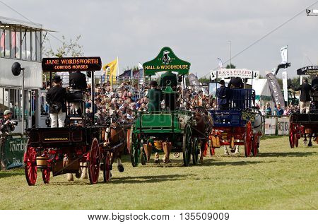 NEWBURY, UK - SEPTEMBER 21: The Heavy Horse competition concludes with a final walk around the main arena for the public to get close up at the Berks County show on September 21, 2014 in Newbury
